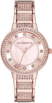 Liz Claiborne Womens Crystal-Accent Rose-Tone Bracelet Watch