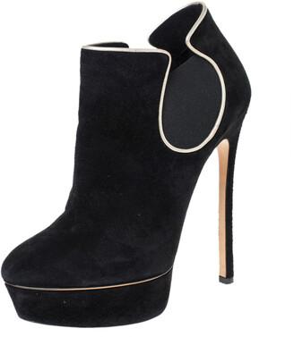 Casadei Black Suede Platform Slip On Booties Size 38