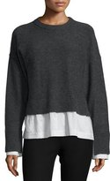 Joseph Wool-Blend Striped-Trim Illusion Sweater, Coal/White/Blue