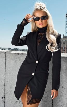 UNIQUE21 Black Gold Button Lace Insert Blazer Dress