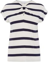 Warehouse Wide Stripe Knot Neck Tee