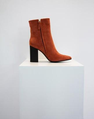 Collection & Co - Pelion Orange Block Heeled Boot - 35 / Orange