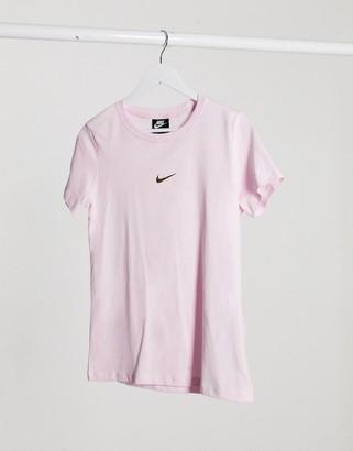 Nike mini metallic swoosh regular fit pastel pink t-shirt