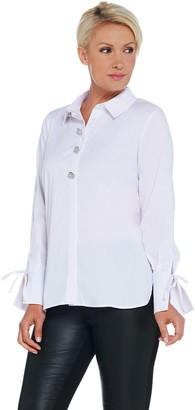 Brooke Shields Timeless BROOKE SHIELDS Timeless Embellished Button Front Woven Top