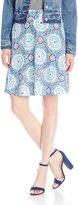 Caribbean Joe Women's Printed Rayon Tile Print Pull On Knee Length Skirt