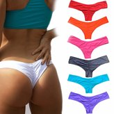 CROSS1946 Sexy Women's Bikini Thong Bottom Brazilian V Cheeky Ruched Semi Swimsuit M