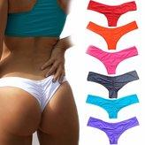 CROSS1946 Sexy Women's Bikini Thong Bottom Brazilian V Cheeky Ruched Semi Swimsuit XL