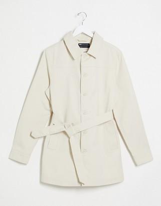 ASOS DESIGN denim single breasted jacket in ecru