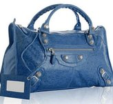 electric blue lambskin large 'Giant Work' bag
