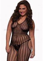 Seven Til Midnight SEVEN 'TIL MIDNIGHT Women's Plus-Size Halter Striped Suspender Body Stocking Plus
