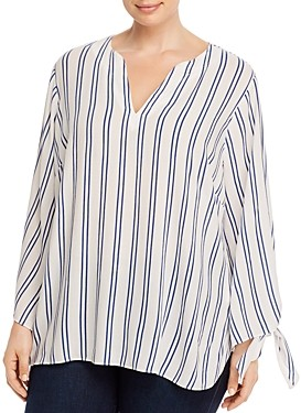 MICHAEL Michael Kors Double Stripe Tie-Sleeve Blouse