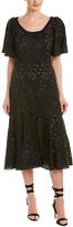 Rebecca Taylor Sarah Embroidery Silk Midi Dress