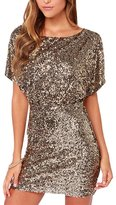 The Bazaar R Women Sequins Off Shoulder Key-Hole Back Mini Dress