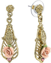 JCPenney 1928 Jewelry Pink Rose and Crystal Gold-Tone Drop Earrings