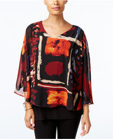 Joseph A Printed Cape Blouse