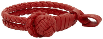 Bottega Veneta Red Intrecciato Slim Double Bracelet