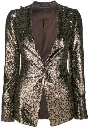 Tagliatore Leopard Print Sequin Embroidered Blazer