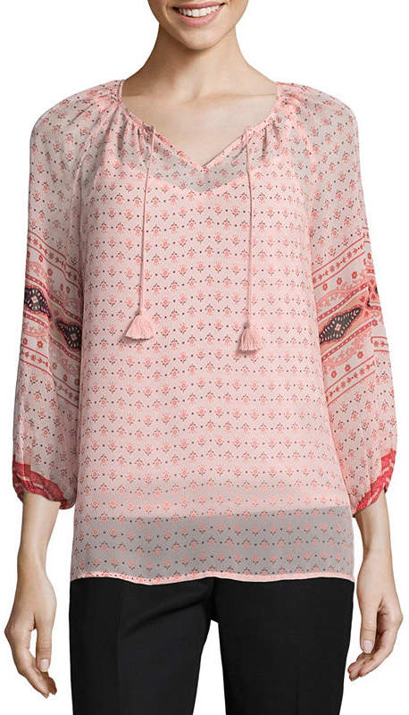 17020045ccf1bd 3/4 Sleeve Peasant Top - ShopStyle