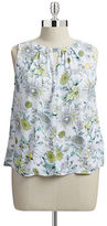 Jones New York Collection Plus Gathered Keyhole Floral Tank