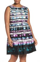 Vince Camuto Abstract Print A-Line Dress (Plus Size)