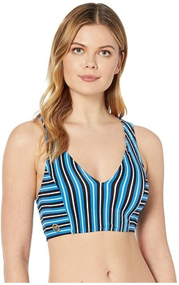 MICHAEL Michael Kors Marine Stripe V-Neck Crop Top (Vintage Blue) Women's Swimwear