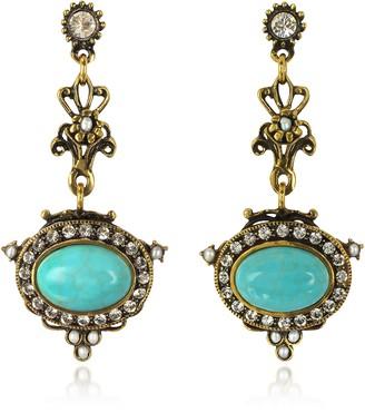 Alcozer & J Magnesite Goldtone Brass Earrings w/Crystals