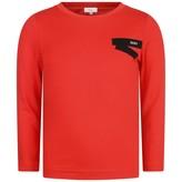 DKNY DKNYBoys Red Cotton Logo Print Top