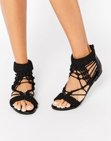 Missguided Origami Rope Flat Sandal