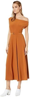 KAMALIKULTURE by Norma Kamali Drop Shoulder Flared Dress to Midcalf (Bronze) Women's Dress