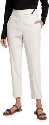 Brunello Cucinelli Stretch Cotton Ankle Pants w/ Monili Tab Belt