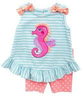 Rare Editions Baby-Girls Aqua Seahorse Short Set