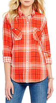 Levi's Plaid Long-Sleeve Chambray Boyfriend Workwear Top