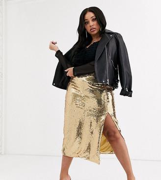 Unique 21 Hero Plus bodycon pencil skirt in gold sequin two-piece