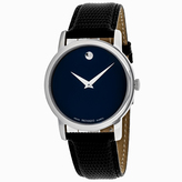 Movado Museum 2100007 Men's Black Leather and Stainless Steel Watch