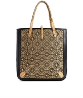Brooks Brothers Large Embroidered Straw Tote