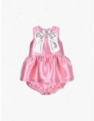 Hucklebones London Gilded bow satin shift dress 6-36 months