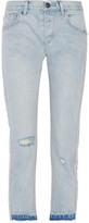 Current/Elliott The Slouchy Skinny Cropped Embroidered Mid-Rise Slim-Leg Jeans