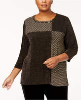 Alfred Dunner Plus Size Deck the Halls Collection Patch Shimmer Sweater
