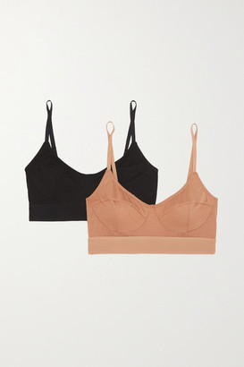 Base Range + Net Sustain Set Of Two Stretch-bamboo Soft-cup Bra - Black