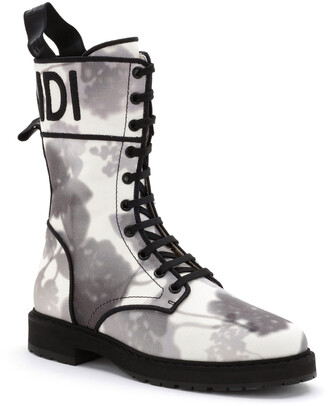 Fendi Printed Canvas Logo Combat Booties