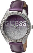 GUESS GUESS? Women's U0823L4 Trendy Silver-Tone Watch with Purple Dial , Crystal-Accented Bezel and Genuine Leather Strap Buckle