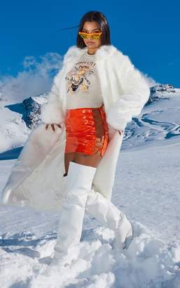 PrettyLittleThing Neon Orange Vinyl Lace Up Side Mini Skirt