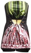 Mary Katrantzou Fantasy Perfume-print Duchess Satin Playsuit - Womens - Black Multi