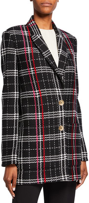 St. John Two-Button Bold Plaid Jacket with Patch Pockets