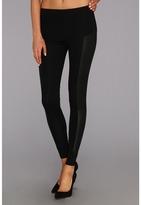 C&C California Ponte Legging w/Leather Panels (Black) - Apparel