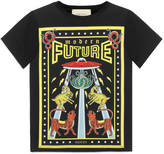 "Gucci Children's cotton t-shirt with ""Modern Future"" print"