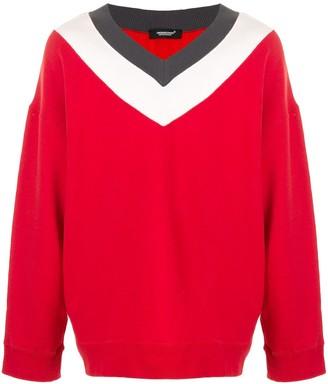 Undercover Contrasting Neckline Cotton Sweatshirt