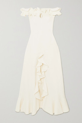 Giambattista Valli Off-the-shoulder Ruffled Cutout Cady Gown - White