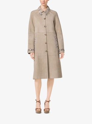 Michael Kors Collection Python-Trim Suede Trench Coat