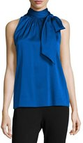 St. John Charmeuse Halter Necktie Top, Royal Blue
